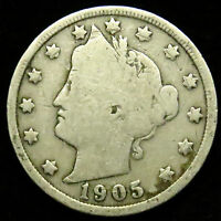 1905 LIBERTY BARBER V NICKEL G GOOD B04