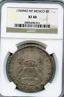 1769MO MF 8 REALES PILLAR DOLLAR SILVER COIN  MEXICO GRADED BY NGC XF40 KM105
