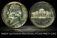 1942 P PROOF JEFFERSON SILVER WAR NICKEL PCGS PR67 CAC LIGHTLY TONED W/ VIDEO