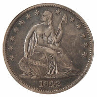 1842 MED DATE 50C ANACS EF 45 FS 301 WB 105   REPUNCHED DATE SEATED LIBERTY HALF