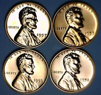 1956 1957 1958 & 1959 GEM PROOF FULL RED LINCOLN CENT LOT OF 4 COINS FREE SHIP