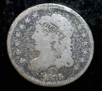 1835 CAPPED BUST HALF DIME .05 US COIN F   VF WITH BOLD DATE & LIBERTY LOT 1