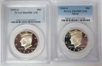 1995 S 50C KENNEDY SILVER & CLAD HALF DOLLAR PCGS PR69DCAM PROOF 2 COIN SET