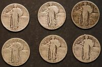 CIRCULATED STANDING LIBERTY QUARTERS 6 - 1925, 1926, 1927, 1929, 1930 - LOT 2A