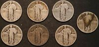 CIRCULATED STANDING LIBERTY QUARTERS 7 - 1925, 1927, 1929  - LOT 2B
