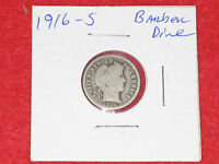 1916 S SILVER BARBER DIME   GOOD COIN