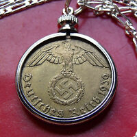 PRE 1939 GERMAN WAR EAGLE BRASS WWII COIN PENDANT ON A 28