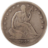1844 O 50C PCGS F 12 DOUBLED DATE    SEATED LIBERTY HALF DOLLAR VARIETY