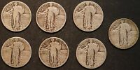 CIRCULATED STANDING LIBERTY QUARTERS 7 1925,1926,1927,1928,1929,1930    LOT 2E