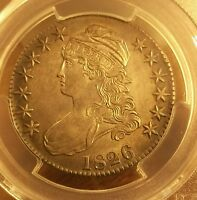 1826 UNITED STATES CAPPED BUST SILVER HALF PCGS UNC DET RAZOR SHARP W EYE APPEAL