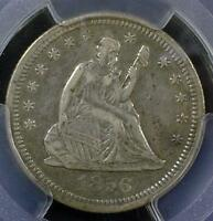 1856 S PCGS XF40 SEATED LIBERTY QUARTER ID QQ160