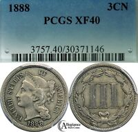 1888 THREE CENT NICKEL PCGS XF40  CLASSIC OLD TYPE COIN KEY DATE BETTER COIN