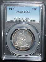 1867 LIBERTY SEATED HALF DOLLAR   PCGS PROOF 65    COIN