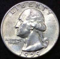 US 1959 25 CENTS COIN SILVER WASHINGTON QUARTER .25C 1140