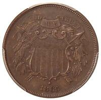 1865 2C PCGS MINT STATE 62 BN FS-1302 REPUNCHED DATE  NEAT TWO CENT COPPER VARIETY