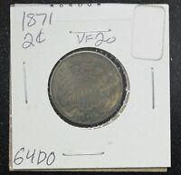 1871 TWO CENT VF