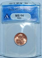 1984 ANACS MS64RD RED 1C DOUBLED DIE OBVERSE DOUBLE EAR FS 101 LINCOLN CENT