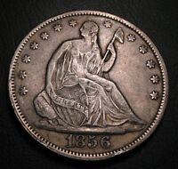 OLD US COINS 1856  SILVER SEATED LIBERTY HALF DOLLAR BEAUTY FIFTY CENTS