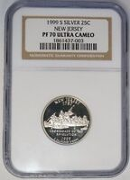 1999 S 25C NEW JERSEY SILVER PROOF STATE QUARTER NGC PF 70 ULTRA CAMEO