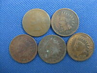 5 PC U.S. INDIAN CENT COIN LOT 1865 1899 1901 1894 1907