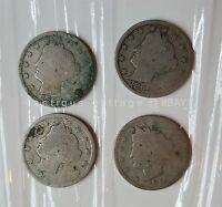 1893 1894 1895 1897 LOT OF 4 LIBERTY V NICKELS NICKEL COIN UNITED STATES CENTS