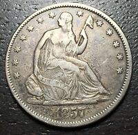 1857 P SEATED LIBERTY HALF DOLLAR      MAKE US AN OFFER  W4768 ZXCV