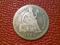 VINTAGE U.S. COIN 1888 SEATED LIBERTY SILVER DIME BJ57