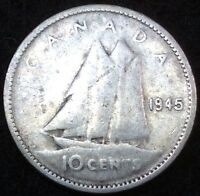 CANADA 1945 10 CENTS COIN SILVER CANADIAN DIME .10C 1133