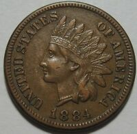 1884 XF INDIAN CENT NICE DETAILS