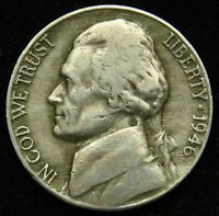 1946 D JEFFERSON NICKEL VF FINE B02