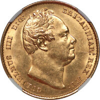 GREAT BRITAIN 1837 WILLIAM IV GOLD SOVEREIGN NGC MS 63