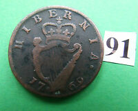 GEORGE III 1769 HIBERNIA IRISH IRELAND HALFPENNY