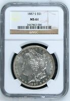 1887-S MORGAN SILVER DOLLAR 1$ NGC MINT STATE 61 BETTER DATE  COIN SHIPS FREE