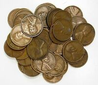 LOT OF 50 1930 S 1C LINCOLN WHEAT CENT PENNIES VF  FINE - AU ROLL 84794
