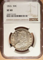 1826 CAPPED BUST HALF DOLLAR NGC GRADED XF40.NICE XF