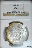 1887 S$1 MORGAN SILVER DOLLAR NGC MINT STATE 63  LY TONED