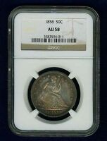 U.S. 1858 SEATED LIBERTY HALF DOLLAR ALMOST UNCIRCULATED COIN NGC CERTIFIED AU58