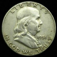 1951 90 SILVER FRANKLIN DOLLAR VF FINE B05