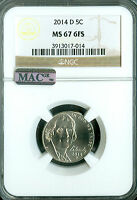 2014 D JEFFERSON NICKEL NGC MAC MS 67 FS PQ 2ND FINEST GRADE .