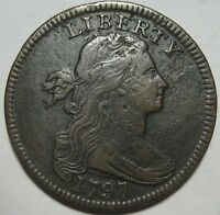 1797 VF/EXTRA FINE  LARGE CENT, WITH STEMS, SUPER DETAIL & EYE APPEAL, SHIPS FREE