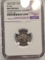 1869 / 1869 THREE CENT NICKEL FS  302 UNCIRCULATED DETAILS NGC