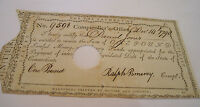 COLONIAL PAPER COMPTROLLERS OFFICE CONNECTICUT 1790 SIGNED BY RALPH POMEROY.