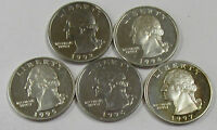 LOT OF 5 WASHINGTON QUARTERS SILVER PROOF 1992 1997  OLD US QUARTERS