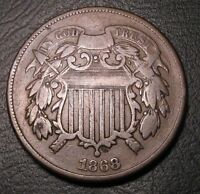 OLD US COINS 1868 BETTER DATE OBSOLETE TWO CENT 2 C PIECE FREE SHIP US AND CA