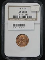 1936 WHEAT CENT NGC MS 66 RED