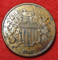 1865 RED BROWN 2 CENT WITH AU DETAILS OFFERS WILL BE CONSIDERED