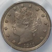 1911 LIBERTY NICKEL PCGS MINT STATE 64, FULLY WHITE AND LUSTROUS,  CHOICE BU,