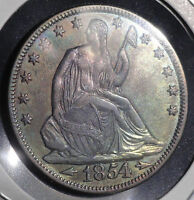 1854 LIBERTY SEATED SILVER HALF DOLLAR. SUPER NICE TONED COLLECTOR COIN FOR YOU