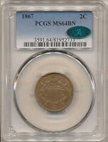 1867 TWO CENT MINT STATE 64BN PCGS CAC  CAC HAS APPROVED 8 IN THIS GRADE