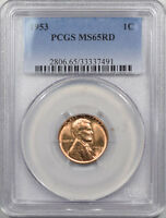 1953 LINCOLN CENT PCGS MS 65 RD